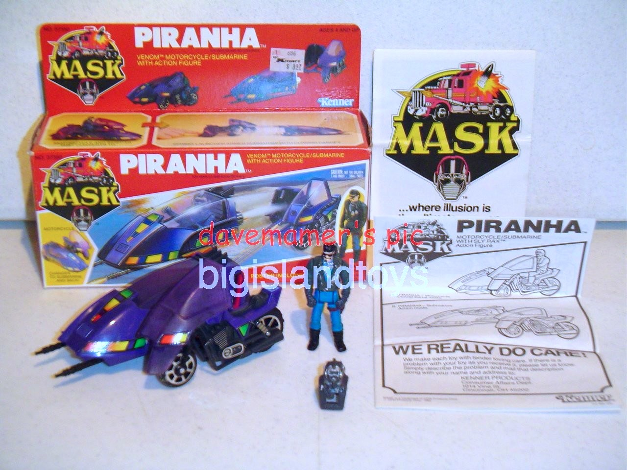 MASK Original Series   Piranha Motorcycle with sidecar with Sly Rax