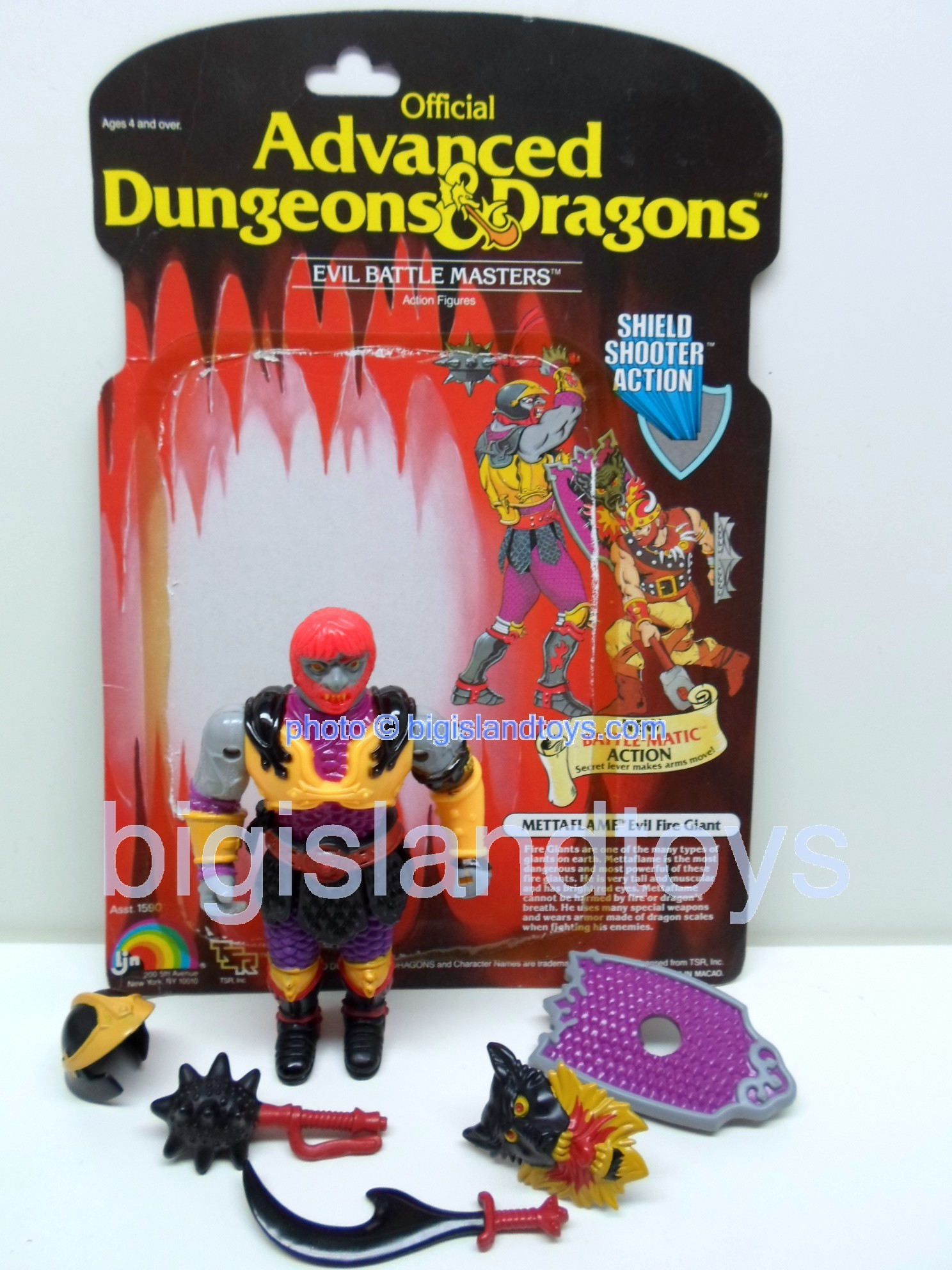 Advanced Dungeons & Dragons LJN Evil Figures   Metta Flame Evil Fire Giant Shield Shooter